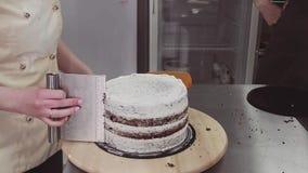 Кондитер женщины используя шабер печенья для того чтобы принять чрезмерно сливк торта видеоматериал
