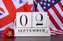 Конец даты календаря WWII 2-ое сентября 1945 стоковая фотография