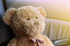 Конец Брайна плюшевого медвежонка вверх по сиротливому чувству в моем автомобиле Стоковая Фотография RF