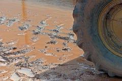 Конец-вверх автошины трактора в грязи Стоковое фото RF