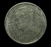 Конец-вверх 1 бат - тайские монетки Стоковая Фотография