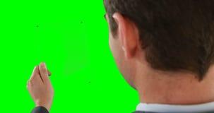 Конец-вверх бизнесмена претендуя использовать цифровую таблетку видеоматериал