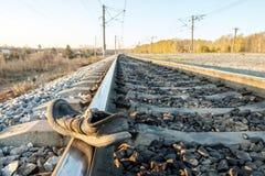 Конец-вверх ботинок на следах в аварии на железнодорожной дороге, остальных ботинках Стоковые Фото