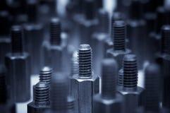 Конец-вверх болтов металла Справочная информация Стоковая Фотография RF