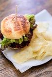 Конец-вверх бургера с зеленым салатом и картофельными стружками Стоковые Изображения RF