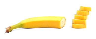 Конец-вверх вкусного, свежего, органического, зрелого банана, изолированного на белой предпосылке Очень вкусный сладостный и зрел Стоковые Фотографии RF