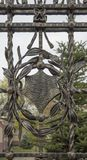 Конец-вверх выкованного элемента, винтажной загородки Стоковое Изображение