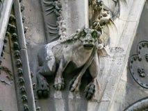 Конец-вверх горгульи на соборе Нотр-Дам стены Франция paris Стоковое Изображение RF