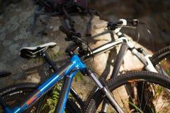 Конец-вверх горного велосипеда в лесе Стоковые Фотографии RF