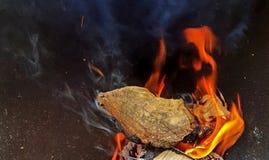 Конец-вверх горящей древесины стоковые изображения rf