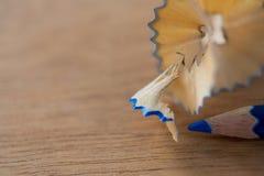 Конец-вверх голубого карандаша цвета с брить карандаша Стоковые Изображения RF