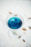 Конец вверх голубого холодного освежая питья коктеиля лета с льдом Стоковая Фотография RF