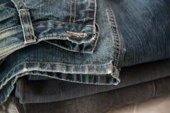 Конец вверх голубых джинсов Стоковые Изображения RF
