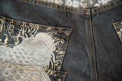 Конец вверх голубых джинсов Стоковое Изображение RF