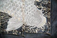 Конец вверх голубых джинсов Стоковая Фотография RF