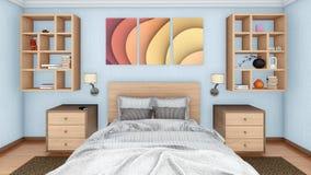 Конец-вверх двуспальной кровати в современном интерьере спальни Стоковое Фото