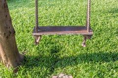 Конец-вверх деревянная смертная казнь через повешение качания на дереве в саде и natu Стоковая Фотография RF