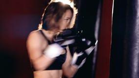 Конец-вверх женщины бокса HD акции видеоматериалы