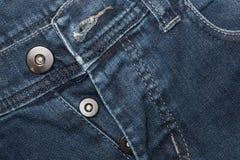 Конец-вверх джинсовой ткани: предпосылка текстуры голубых джинсов Стоковые Изображения