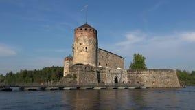 Конец-вверх замка Olavinlinna Savonlinna, Финляндия сток-видео