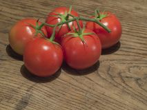 Конец вверх зреет 5 красных томатов на ветви на плате старого дуба деревянной Стоковая Фотография