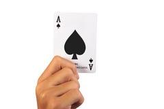 Конец-вверх играя карточек в руке Стоковое Изображение RF