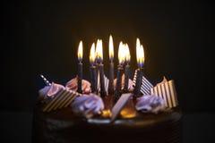 Конец-вверх именниного пирога шоколада Стоковое Изображение RF