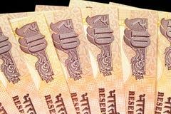 Конец вверх индейца бумажные деньги 10 рупий Стоковая Фотография RF