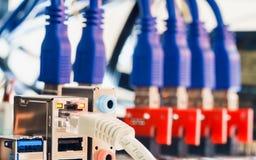 Конец вверх кабеля LAN RJ45 UTP подключает к минированию Cryptocurrency Стоковые Изображения RF