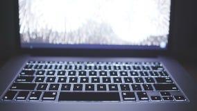 Конец-вверх клавиатуры компьтер-книжки с фокусом на кнопке Ctrl сток-видео