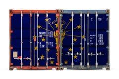 Конец-вверх контейнера с национальным флагом стоковое фото rf