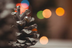 Конец-вверх конуса сосны на деревянном столе Стоковые Фото