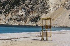 Конец-вверх коробки личной охраны и Myrtos приставают Kefalonia к берегу Стоковые Изображения RF