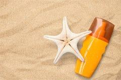 Конец-вверх косметической бутылки продукта Забота Солнця Стоковое Изображение
