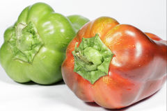 Конец-вверх красного перца с другим одним зеленым цветом на предпосылке Стоковые Фото
