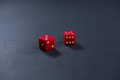 Конец-вверх красного цвета dices Стоковые Фото