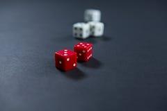 Конец-вверх красной и белого dices Стоковые Фото