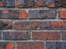 Конец-вверх красной предпосылки кирпичной стены стоковые фотографии rf