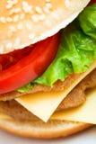 Конец-вверх макроса гамбургера Cheeseburger Стоковая Фотография RF
