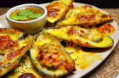 Конец вверх мидий печет с сыром с пряным соусом морепродуктов стоковые фото