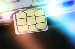 Конец-вверх микро- карточки sim Стоковые Фотографии RF