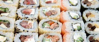 Конец-вверх много кренов суш с различными завалками Съемка макроса сваренной классической японской еды изображение энергии принци Стоковые Изображения