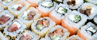 Конец-вверх много кренов суш с различными завалками Съемка макроса сваренной классической японской еды изображение энергии принци Стоковое Изображение