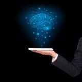 Конец-вверх мозга бизнесмена с таблеткой Стоковое Изображение RF