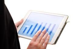 Конец-вверх молодой коммерсантки смотря диаграмму на таблетке цифров стоковое фото