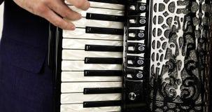 Конец-вверх музыканта играя аккордеон видеоматериал