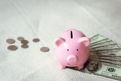Конец-Вверх наличных денег и копилки денег на таблице, розовые Piggy сбережения, банк дела и финансовая концепция стоковое изображение rf