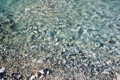 Конец вверх на береге речного берега с камнями и чисто кристаллом бирюзы - ясной текстурой предпосылки реки Стоковая Фотография RF