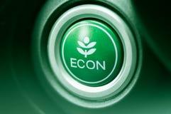 Конец-вверх на кнопке ECON в автомобиле стоковое фото