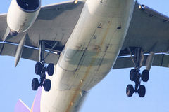 Конец вверх нижнего взгляда выставки самолета пассажирского самолета управляя whee стоковое изображение